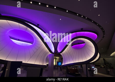 Winton Mathematics Gallery at the Science Museum, London, designed by Zaha Hadid Architects. Installation is inspired by mathematical models - Stock Photo