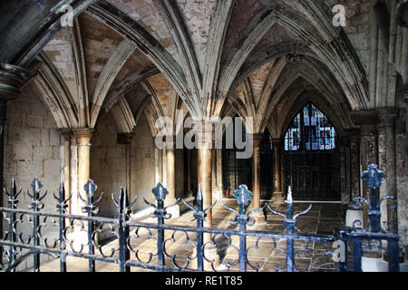 Columns at a courtyard at the Collegiate Church of St. Peter at Westminster (Westminster Abbey) in London, United Kingdom - Stock Photo