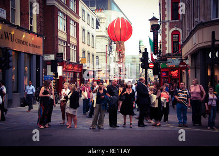 Wardour Street in London's China Town, seen from Shaftesbury Avenue - London, United Kingdom - Stock Photo