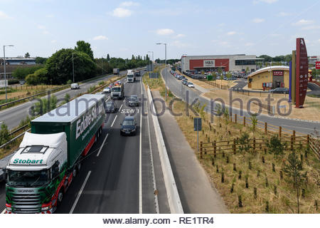 A45 road alongside Rushden Lakes retail park, Northampton, England, UK - Stock Photo
