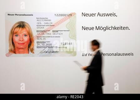 Presentation of new German Identity Card that will be issued from November 2010, IT Fair Cebit, stall of the Federal Ministry of - Stock Photo
