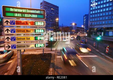 Car-Park Routing System, all inner city parking decks are linked, free parking spaces are shown, Essen, North Rhine-Westphalia - Stock Photo