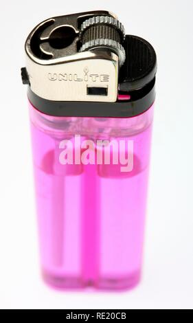 Pink disposable lighter, LPG filling - Stock Photo