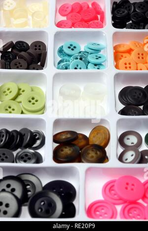 Various buttons, button collection, sorted - Stock Photo