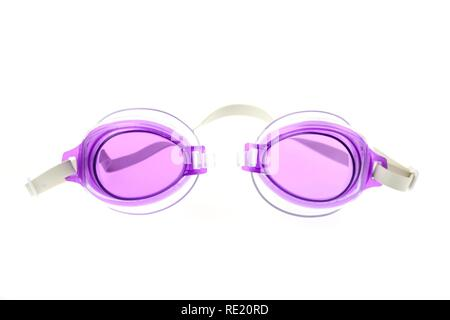 Swimming goggles with purple-tinted glasses - Stock Photo