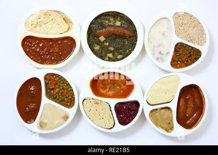 Different meals in plastic containers, pre-cooked, portioned for one person - Stock Photo