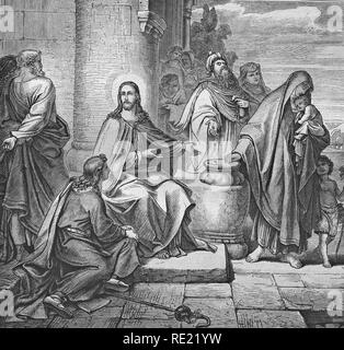 The alms of the poor widow, historic steel engraving from 1860 - Stock Photo