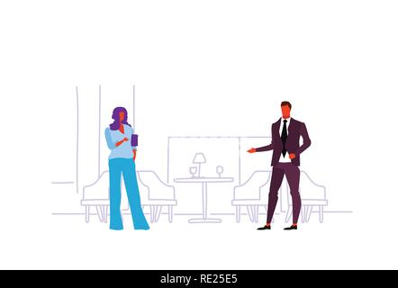 business colleagues meeting discussing project communication concept businessman woman coworkers modern restaurant interior concept sketch doodle horizontal - Stock Photo