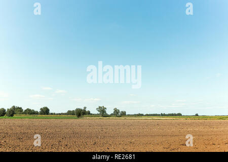 Potato patch sitting in the dutch countryside, ready to be plowed for growing delicious potatoes. - Stock Photo