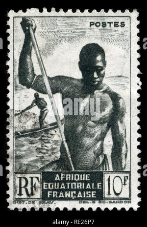 Postage stamp from French Equatorial Africa issued in 1947 - Stock Photo