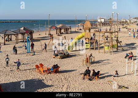 Playground on the Tel Aviv beach - Stock Photo