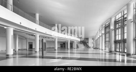 Empty lobby inside the Miami Beach Convention Center in Miami Beach, Florida - Stock Photo