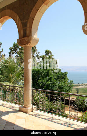 Beautiful view from the Mount of Beatitudes, Israel - said to be the actual location of the Sermon on the Mount - Stock Photo