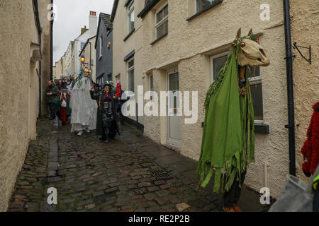 Chepstow, Wales, UK. 20th Jan, 2018. Over 30 'Mari Lwyds' (Welsh), or Grey Mare's gather for celebrations at Chepstow, on the Welsh border, a record breaking number. The Mari Lwyd is an  ancient midwinter tradition to celebrate the New Year. It is very unusual to see more than one 'Mari Lwyd' on any one occasion and unheard of to have a gathering of so many. Credit: Haydn Denman/Alamy Live News - Stock Photo
