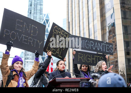 New York, New York, USA. 19th Jan, 2019. Alexandria Ocasio-Cortez participate in the Women's March in Columbus Circle in New York City. Credit: William Volcov/ZUMA Wire/Alamy Live News - Stock Photo
