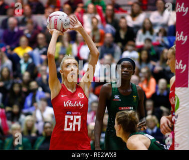London, UK. 19th Jan 2019.  Helen Housby of England Roses During Netball Quad Series Vitality Netball International match between England and South Afr at Copper Box Arena on January 19, 2019 in London, England.  Credit Action Foto Sport Credit: Action Foto Sport/Alamy Live News - Stock Photo