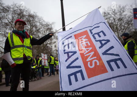 London, UK. 19th Jan 2019. Yellow Vest protsters march around London Credit: George Cracknell Wright/Alamy Live News - Stock Photo