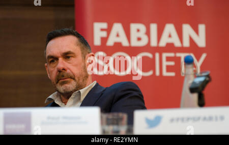 London, UK. 19th Jan 2019. Paul Mason, Guardian journalist, addresses the Fabian New Year Conference 19th January 2019. Credit: Prixpics/Alamy Live News - Stock Photo