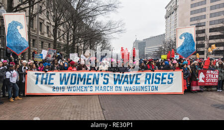 Washington, DC, USA. 19th January, 2019. Thousands of demonstrators marched and rallied in Washington, DC in the 2019 Women's March on Washington, a vociferous protest against President Donald Trump, and a celebration of the women elected to congress in November. Bob Korn/Alamy Live News - Stock Photo