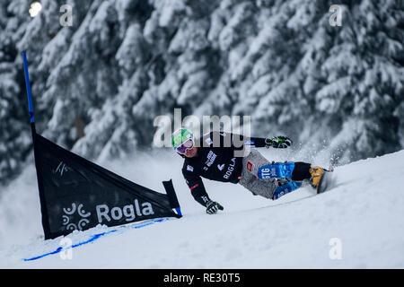 Rogla, Slovenia. 19th Jan 2019. Rok Marguc of Slovenia competes during the FIS Snowboard Men's Parallel Giant Slalom World Cup race in Rogla, Slovenia on January 19, 2019. Photo: Jure Makovec Credit: Jure Makovec/Alamy Live News - Stock Photo