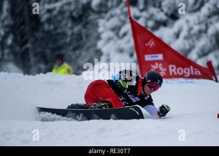Rogla, Slovenia. 19th Jan 2019. Nevin Galmarini of Switzerland competes during the FIS Snowboard Men's Parallel Giant Slalom World Cup race in Rogla, Slovenia on January 19, 2019. Photo: Jure Makovec Credit: Jure Makovec/Alamy Live News - Stock Photo