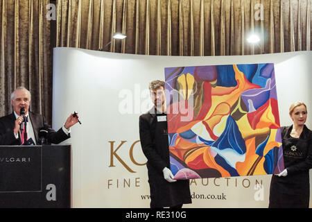 London, UK. 19th Jan 2019. Konooz Fine Art Exhibition and Auction of Arabic Art at Bulgari Hotel. Women's Growth and Success Foundation's founder, Zainab Al Farhan Al Imam, organized the Konooz auction of Arabic art at the Bulgari Hotel in Knightsbridge. Art works  from Iraq, Kuwait, Lebanon, UAE, Iran, Palestine, Sudan, Egypt, Oman, Turkey and New Zealand were auctioned. © Peter Hogan/Alamy Live News - Stock Photo
