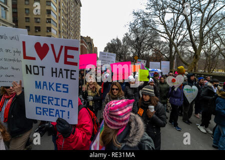 New York, USA. 19th Jan 2019. Participants and signs from the women's march 2019 Credit: Olivier Guiberteau/Alamy Live News - Stock Photo