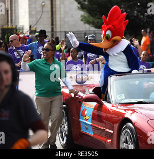 Florida, USA. 19th Jan 2019. Woody Woodpecker waves from a car in the annual Dr. Martin Luther King, Jr. Day Parade on January 19, 2019 in Orlando, Florida. (Paul Hennessy/Alamy) Credit: Paul Hennessy/Alamy Live News - Stock Photo