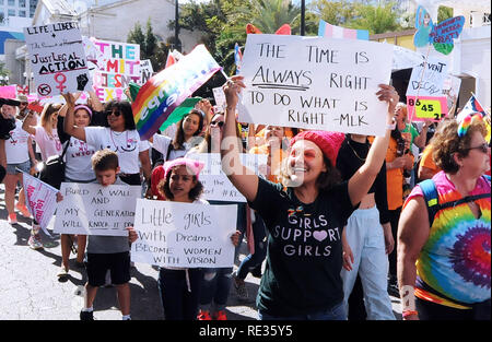 Florida, USA. 19th Jan 2019.  Protesters carry signs in the third annual Women's March on January 19, 2019 in Orlando, Florida. (Paul Hennessy/Alamy) Credit: Paul Hennessy/Alamy Live News