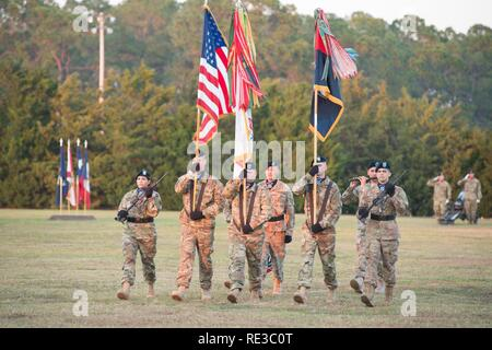 The 3rd Infantry Division color guard participates in the annual Twilight Tattoo during Marne Week at Fort Stewart Nov. 15, 2016. Twilight Tattoo is a ceremony honoring veterans and family members. ( - Stock Photo