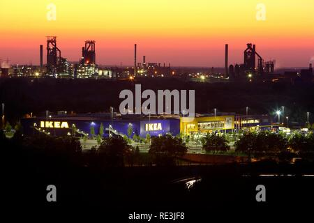 Ikea store in front of the Thyssen-Krupp Blast Furnace Complex in Duisburg-Beeckerwerth, Bruckhausen, Duisburg - Stock Photo