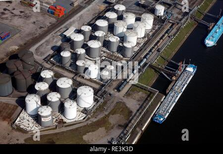 Duisport, port and logistics center, Ruhrort inland port on the Rhine river, largest inland port in the world - Stock Photo