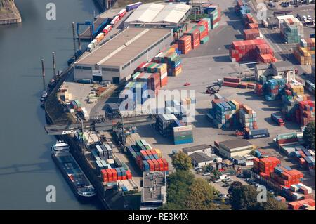 Duisport, port and logistics center, Ruhrort inland port on the river Rhine, considered the world's largest inland port, DeCeTe - Stock Photo
