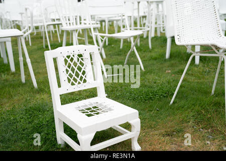 CHRISTCHURCH, NEW ZEALAND - OCTOBER 10 2018; 185 empty white chairs of remembrance  in Christchurch city after 2011 earthquake - Stock Photo
