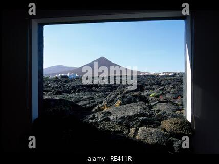 Home of Cesar Manrique in Taro de Tahiche, view from the living room, Lanzarote, Canary Islands, Spain, Europe - Stock Photo