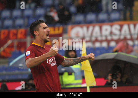 Rome, Italy. 19th Jan, 2019. Lorenzo Pellegrini at Stadio Olimpico of Rome, As Roma beat Fc Torino 3-2 for the first game of second round match of Italian Serie A. Credit: Paolo Pizzi/Pacific Press/Alamy Live News - Stock Photo