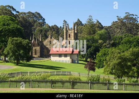 Port Arthur penal colony, church, Tasmania, Australia - Stock Photo
