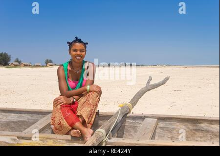 Young Malagasy woman, Morondava, Madagascar, Africa - Stock Photo