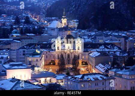 Dreifaltigkeitskirche Holy Trinity Church on Markatplatz square, Salzburg, Austria, Europe - Stock Photo
