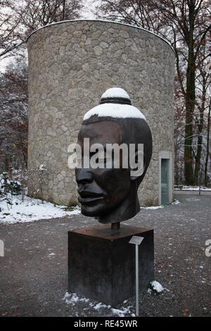 Museum der Moderne musem, Mt. Moenchsberg, evening, winter, Salzburg, Austria, Europe - Stock Photo