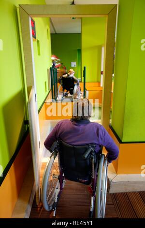 Haus der Natur museum, wheelchair course, where visitors can have the experience of moving about in a wheelchair - Stock Photo