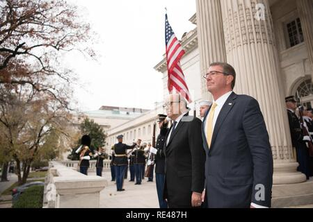 Secretary of Defense Ash Carter hosts a Bilateral meeting with the Minister of Defence for the Republic of France, His Excellency Jean-Yves Le Drian at the Daughters of the American Revolution, Washington, D.C., Nov. 28, 2016. - Stock Photo