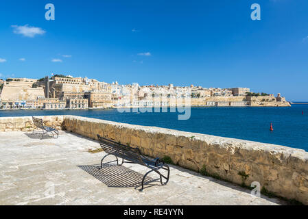 Beautiful view of Valletta, Malta as seen from Senglea, one of the Three Cities - Stock Photo