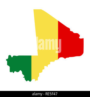 map of Mali with flag inside. Mali map  illustration - Stock Photo