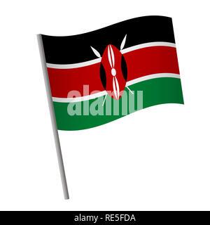 Kenya flag icon. National flag of Kenya on a pole  illustration. - Stock Photo