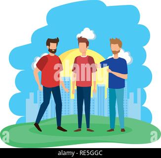 group of men in the field - Stock Photo