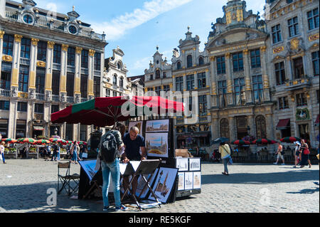Street artist in Central Brussels - Stock Photo