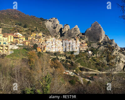View of Castelmezzano Basilicata Italy - mountain village built in the dolomites rock - Stock Photo