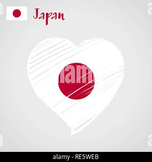 Vector flag heart of Japan. Circle of the sun. Land of the Rising Sun. - Stock Photo