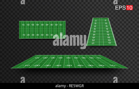 illustration American Football fields with different perspective, vector design, super bowl - Stock Photo